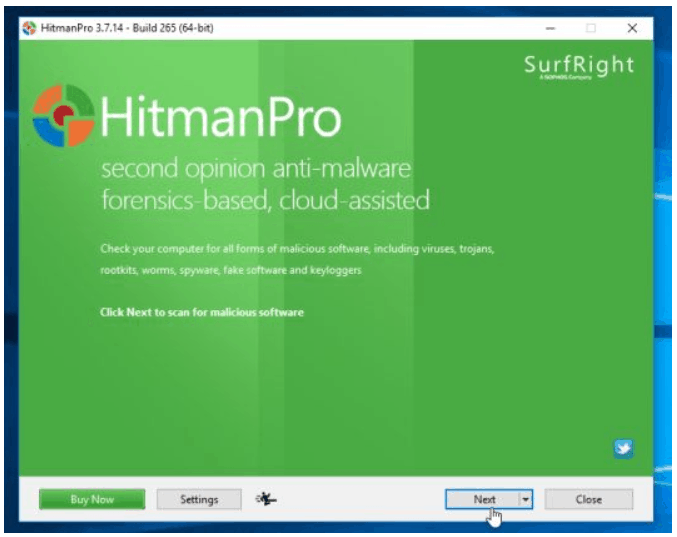 HitmanPro Installation Window
