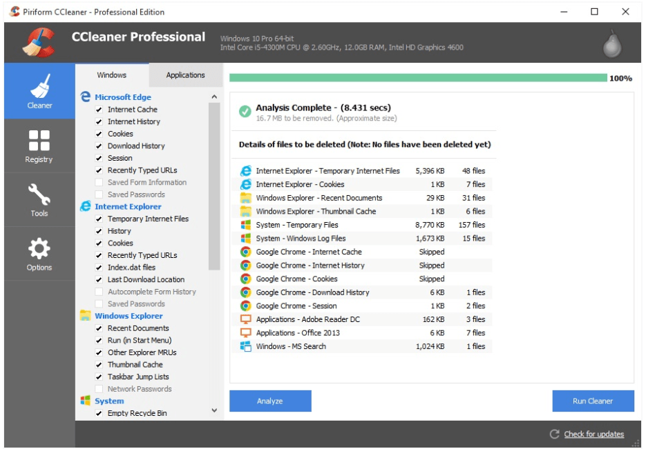 CCleaner Professional Software
