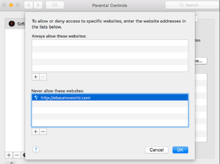 Block websites using parental controls