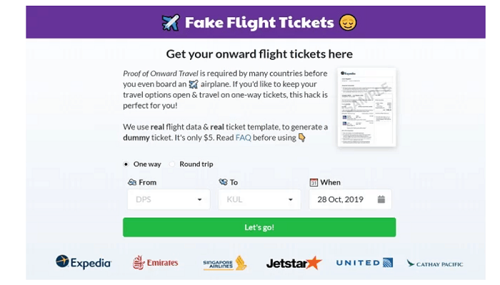 fake flight tickets