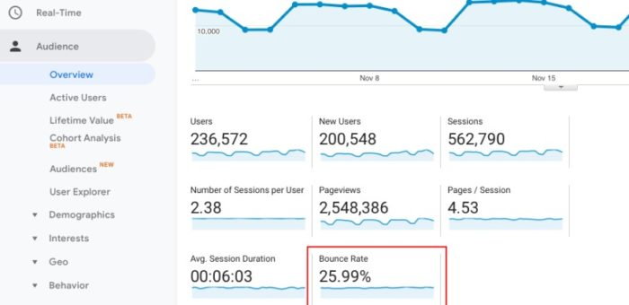 check views and bounce rate