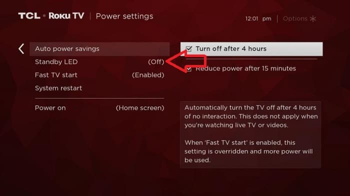 click the standby led option