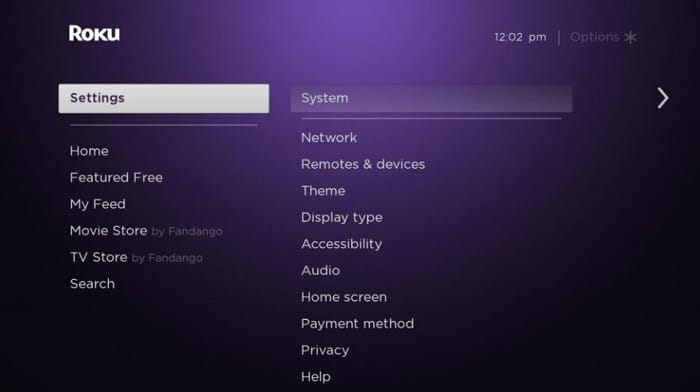 go to system to turn off roku express