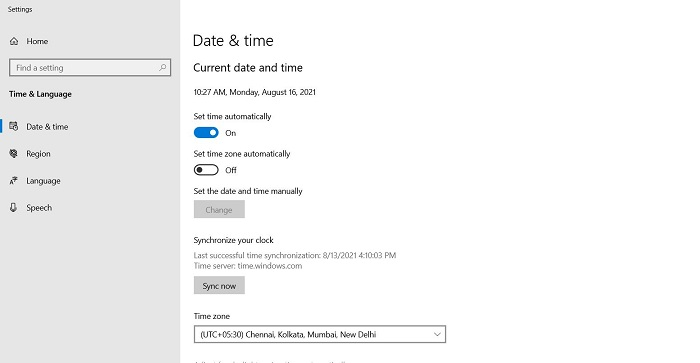 Sync system clock with server time